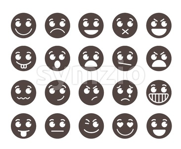 Smiley Flat Vector Emoticons with Emotions Stock Vector