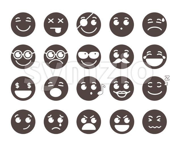 Vector Emoticons Emotions and Facial Expressions Stock Vector