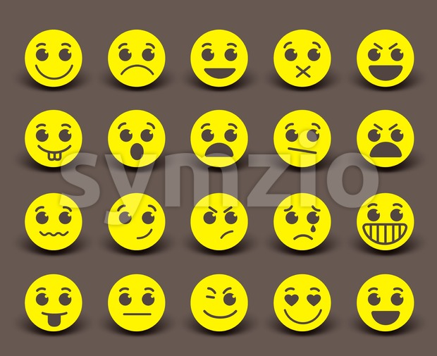 Yellow Smiley Face Icons and Emoticons Stock Vector