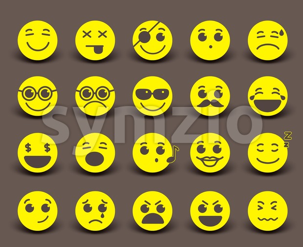 Yellow Smileys Faces Vector Icon and Emoticons Stock Vector