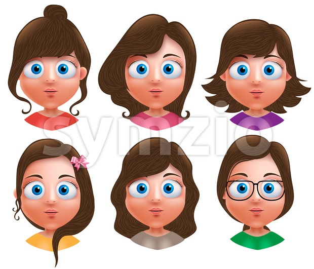 Female avatar vector characters. Set of teenager girls head with different hairstyle and cute faces isolated in white background. Vector ...