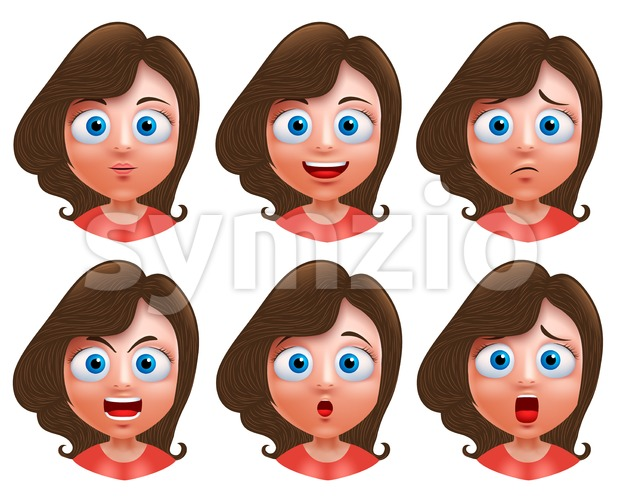 Female teenager girl heads avatar vector character set with facial expressions and wavy long hair for fashion isolated in white ...