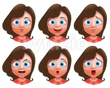 Female Teenager Girl Heads Avatar Vector Character Stock Vector