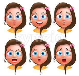 Girl Heads Facial Expressions Avatar Vector Character Stock Vector