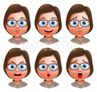 Nerd Girl Avatar Vector Character Heads Stock Vector