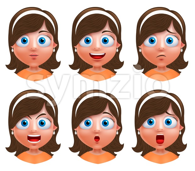 Girl Avatar Vector Character with Facial Expressions Stock Vector