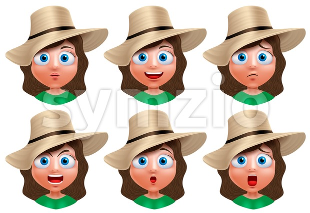 Set of young girl avatar faces vector character with facial expressions wearing summer hat isolated in white background. Vector illustration. ...