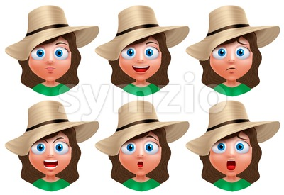 Girl Avatar Faces Vector Character Facial Expressions Stock Vector