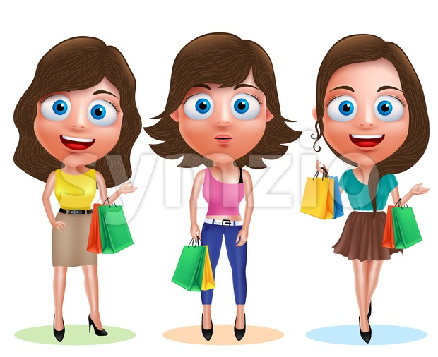 Female Shopping Vector Characters with Shopping Bags Stock Vector