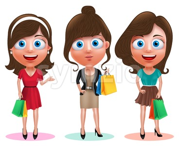 Woman Shopping Vector Characters Holding Bags Stock Vector