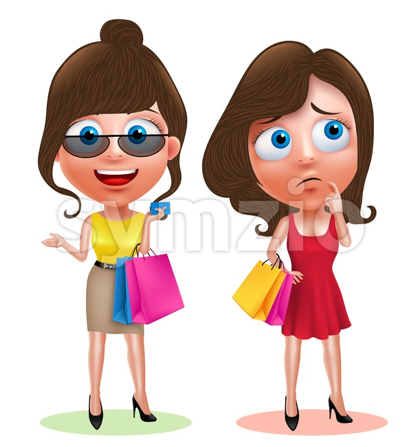 Vector Woman Shopping Characters Set Holding Bags Stock Vector