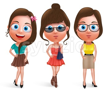 Fashion Teen Girl Model Vector Characters Stylish Dress Stock Vector
