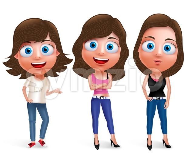 Fashionable teenager woman model vector characters set smiling wearing casual clothes and jeans with different poses and hairstyle. Vector illustration. ...