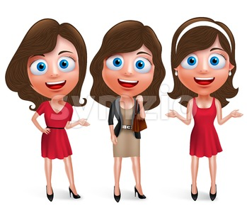 Fashion Teenage Girls Vector Characters Set with Pose Stock Vector
