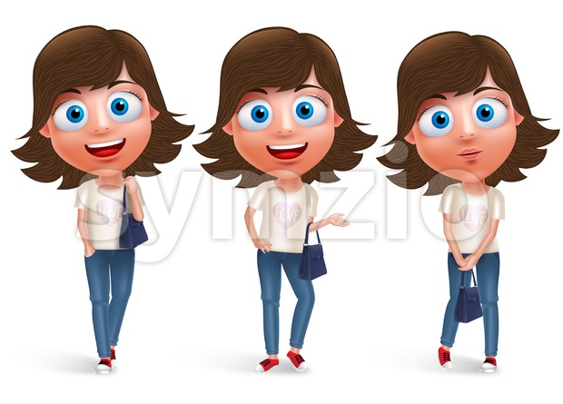 Teen girl vector character holding hand bag wearing jeans and fashionable dress with different model pose and smile. Vector character ...