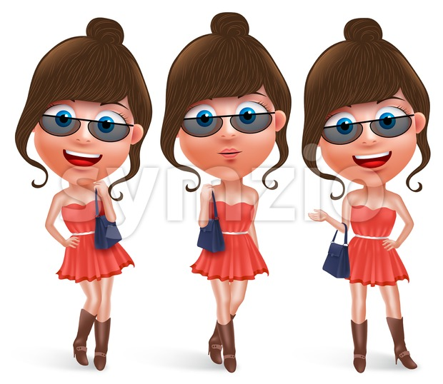 Fashion teen female vector character holding hand bag wearing fashionable skirt dress and boots with sunglasses. Vector characters set. This ...