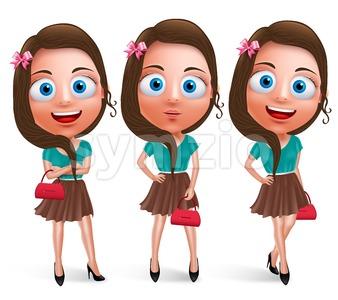 Lovely Teen Girl Vector Characters Holding Handbag Stock Vector