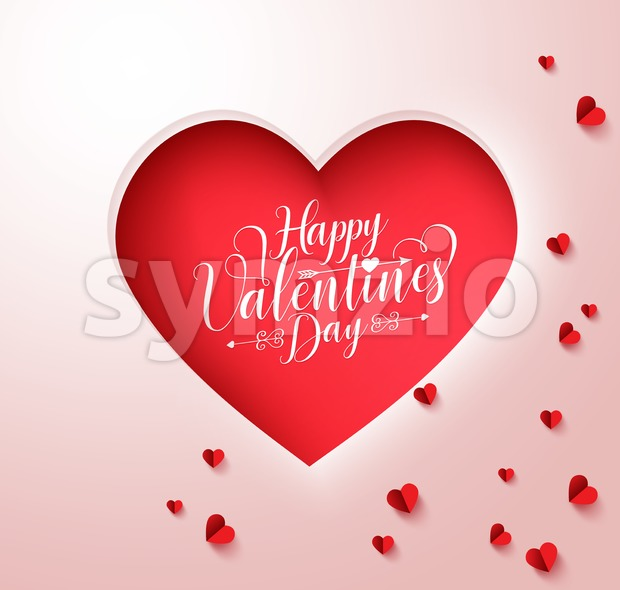 Happy Valentines Day Vector Paper Cut Heart Stock Vector