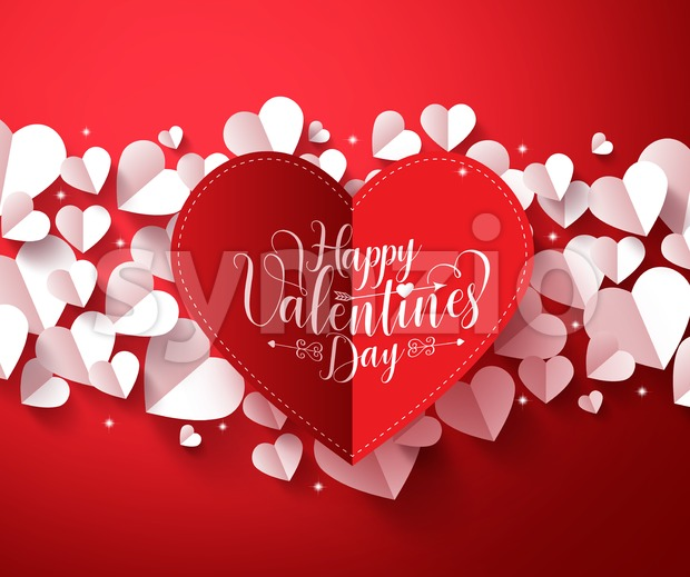 Valentines Background Vector Concept with Hearts Stock Vector