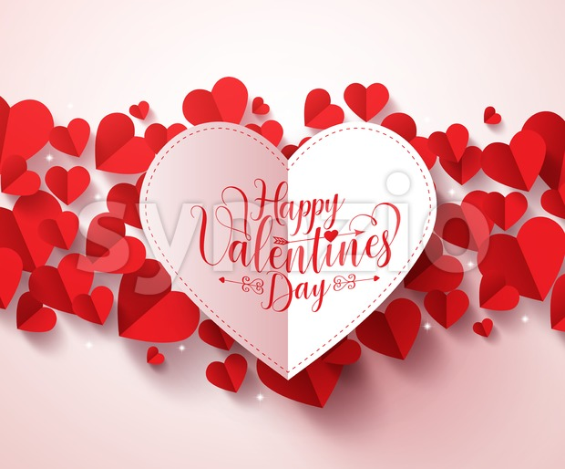 Valentines Greetings Card Vector Design with Red Hearts Stock Vector