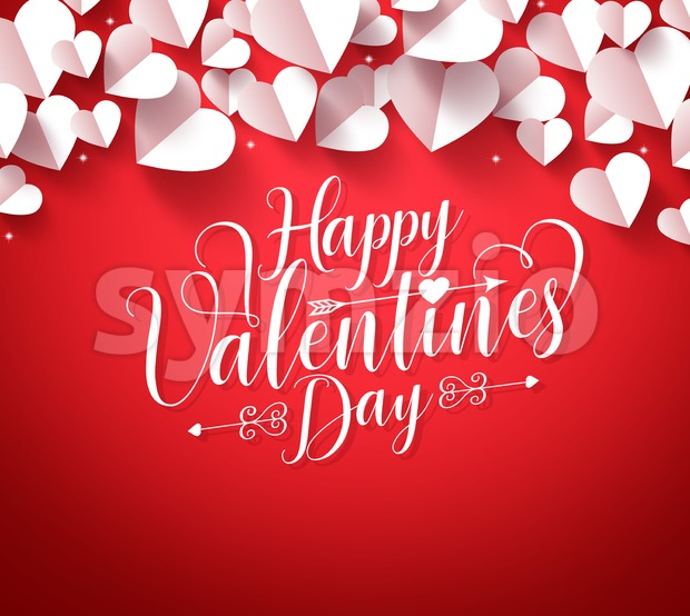 Happy valentines day typography greetings in red background with paper cut white hearts shape decorations. Vector illustration. This vector was ...