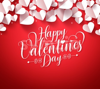 Happy Valentines Day Typography in Red Background Stock Vector