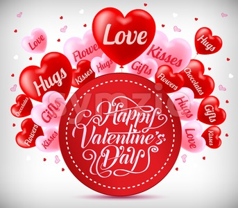 Greeting For Valentines Day With Red And Pink Heart Balloons Stock Vector