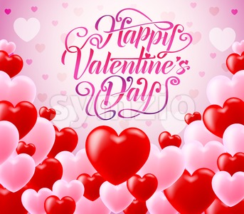 Red and Pink Hearts With Happy Valentines Day Typography Stock Vector