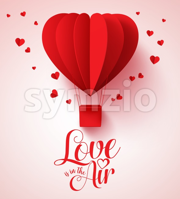 Valentines Day Paper Cut Red Heart Shape Balloon Stock Vector