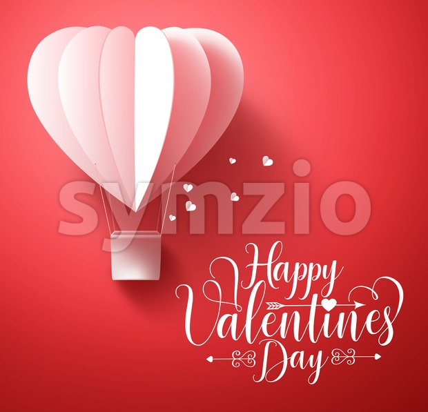 Happy valentines day vector greetings card design with 3d realistic paper cut heart shape flying balloon and hearts in red ...
