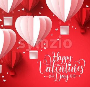 Happy Valentines Day Greetings with Shape Balloons Stock Vector