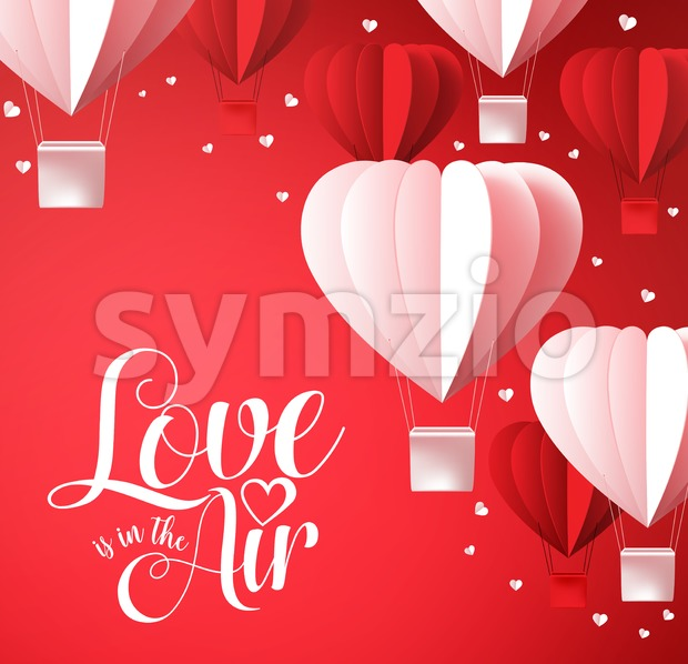 Valentines Vector Background with Love is in the Air Stock Vector