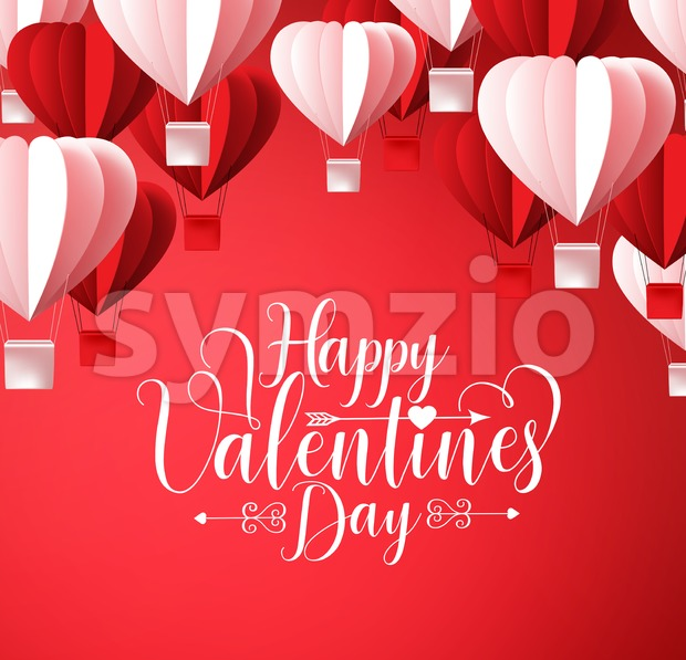 Happy Valentines Day Greetings Card Vector Design Stock Vector