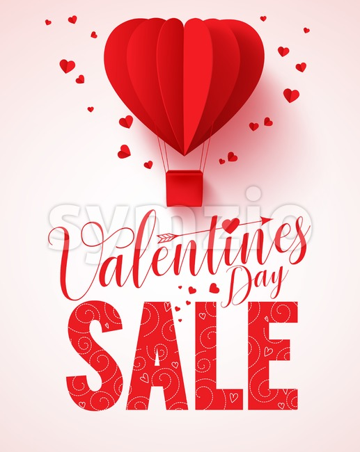 Valentines Day Sale Text Vector Design For Promotion With Heart Shape Red  Hot Air Balloon Flying