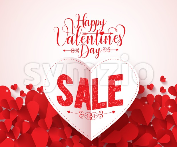 Happy valentines day typography with sale text vector design in folded red heart shape paper cut and hearts background. Vector ...