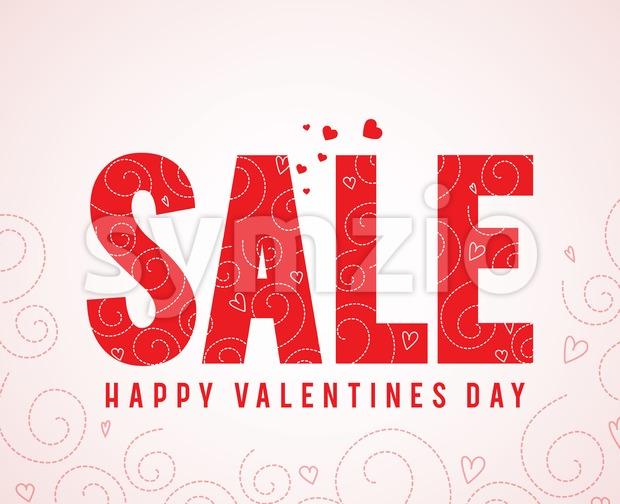 Sale text happy valentines day greetings in patterned white background with red hearts elements. Vector illustration. This vector was designed ...