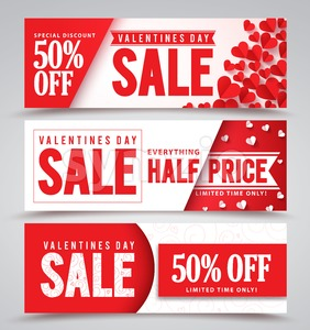 Valentines Day Sale Vector Banners with Red Hearts Stock Vector