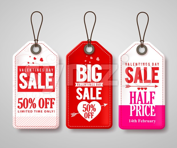 Valentines day sale price tags and labels vector set with half price store promotional designs. Vector illustration. This vector was ...
