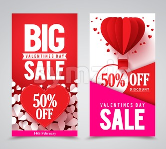 Valentines Day Sale Vector Poster Designs and Banners Stock Vector