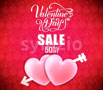 Valentines Day Sale With Hearts Strike By Arrow Stock Vector