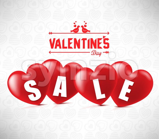 Creative Banner Valentines Sale With Four Red Hearts In White Background With Heart Pattern Vector Illustration. This Valentine's design is ...