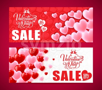 Lovely Banners Of Valentines Day Sale Stock Vector