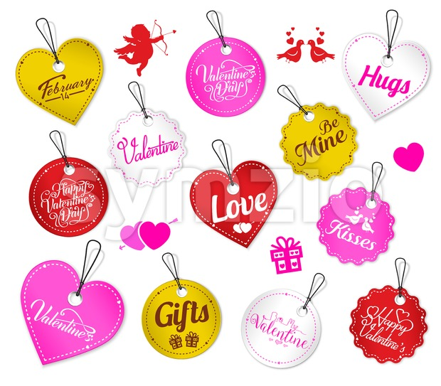 Colorful Valentine Tags Vector Set With Cupid And Love Birds On White Isolated Background Vector Illustration. This Valentine's design is ...