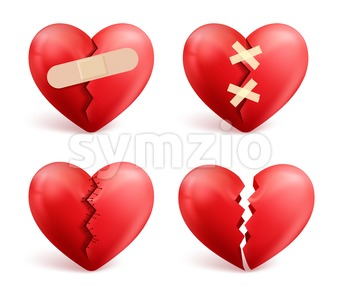 Broken Hearts Vector Set of Icons and Symbols Stock Vector