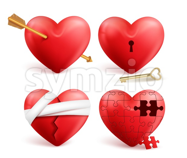 Red hearts vector 3d realistic set with arrows, key holes, puzzle and bandages for valentines day isolated in white background. ...
