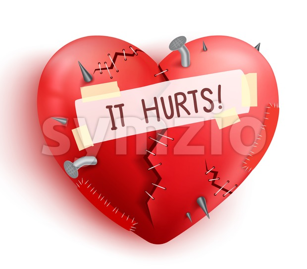 Broken Heart Wounded in Red Color for Valentines Stock Vector