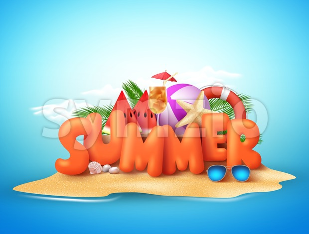 Summer Day Vector Design of 3D Summer Text in Beach Island Stock Vector