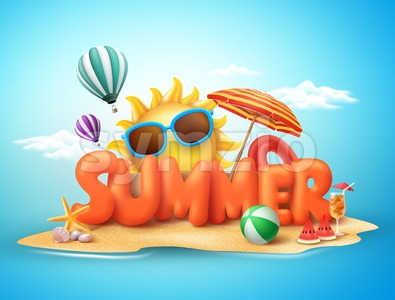 Summer Vector Banner Design Concept of 3D Text in Beach Stock Vector