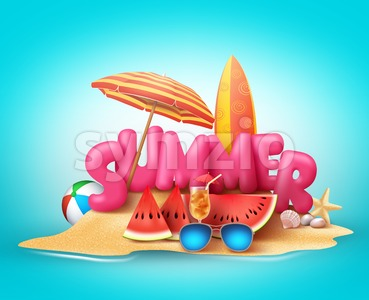 Summer Beach Vector Banner Design. Summer 3D Text Stock Vector