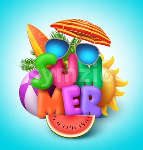 Summer Vector Banner Design with Colorful Text with Elements Stock Vector